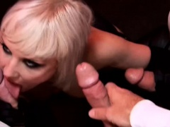Kinky slut Alexandra sucks cocks and gets fingered