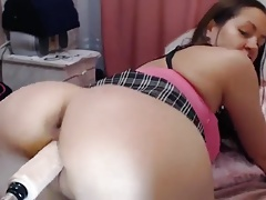 Doggy style dildo fucking webcam girl