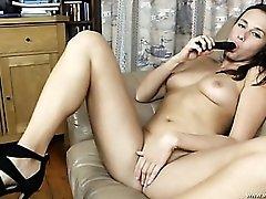 Gorgeous naked girl masturbates with you
