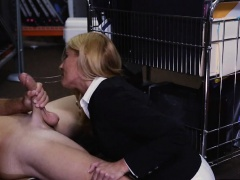 Hot blonde MILF agreed to have sex with pawn man for money