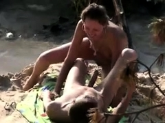 Wild blonde enjoys hot sex with her boyfriend on the beach