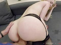 Attractive babe in lingerie got her big ass doggy styled