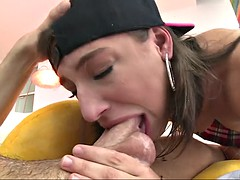 abella danger deepthroats his huge cock to the root like a pro she is