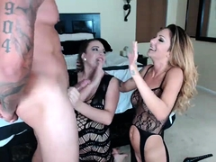 Two striking milfs in lingerie worship a big dick on webcam