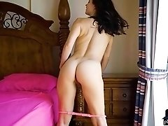 Sexy and curvy brunette MILF Jasmine Jazz shows off