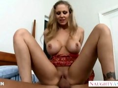 COUGAR in rosy sundress Julia Ann gets good-sized globes porked
