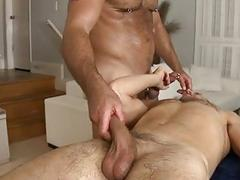 Massaging his warm throat with his huge 10pounder