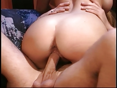 Blonde MILF getting pussy banged in leather sofa