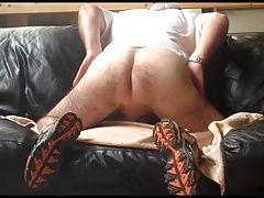 Leather couch humping pleasure