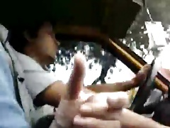 Wank in the Taxi Driver's Side -