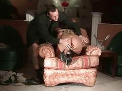 Adventurous pussy pounding for a tied up roped-up submissive chick