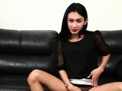 Solo ladyboy playing with her hard dick