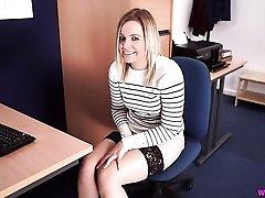Office girl gets caught masturbating at her desk
