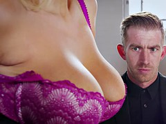 buxom boss wellie welcomes danny d with anal