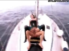 Dirty whore is ass fucked and ass to mouth on a boat