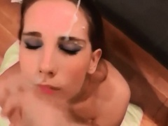 Unloading his cum on her cute face