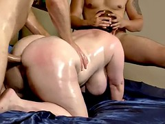 oiled bbw takes two cocks