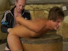 Piss drinking Casper Ellis throated and fucked by maledom