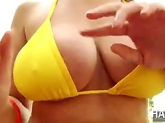 Blonde Brooke gets bounced on Eriks big cock and receives a hot cum on her tits