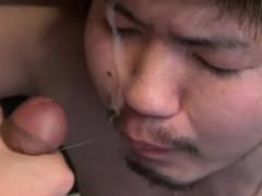 Gay asian twink sucks rod