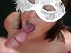 She gest a facial while wearing a mask