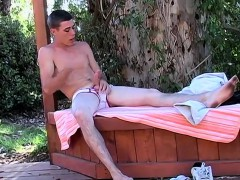 Mark strips in the woods and jacks off in his white undies