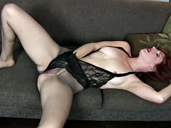 American milf amber dawn pleasures her pussy nyloned