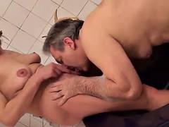 mature blonde sucks and fucks a big cock until she's facialized