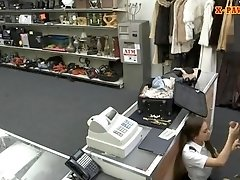 Stewardess smashed by nasty pawn keeper at the pawnshop
