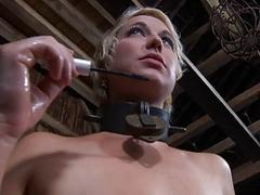 Luxurious blonde loves sucking a dick while in tight bondage