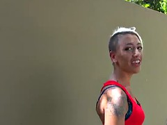 Ugly skank sucks and fucks outdoors and in the toilet