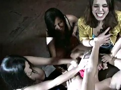 ashdon and her friends have fun with a guy's big cock