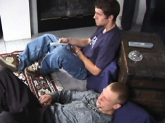Straight punks toyplaying with dildo while wanking