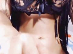 Huge Tits Tranny Masturbates her Cock