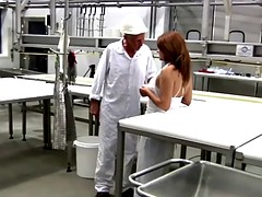 busty brunette bitch is banging with the veteran engineer for a raise