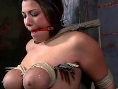 Busty chick gets her big tits tied up hard BDSM