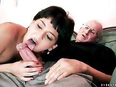 Short hair brunette slut sucks grandpa cock