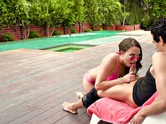hungarian milf lily love sucking cock by the pool