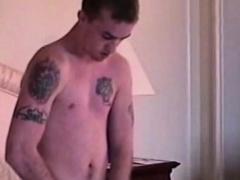 Gay tattooed jock wanking closeup to climax