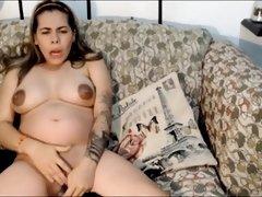 Colombian Pregnant Girl Neithalicutex (22) Masturbating In Sofa