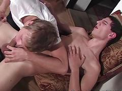 Young cock lover licks his friends ass before they jerk off