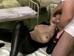 Stacked Japanese slut in uniform feeds her hunger for cock