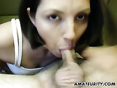 Amateur girlfriend toys and gives head with cum