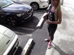 Blonde and hot bimbo walks in to sell a car and gets fucked