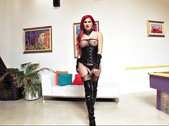 savana styles looks hot in dominatrix outfit and high-heel boots