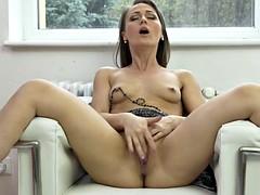 sexy milf angel karyna feeding her thirsty pussy