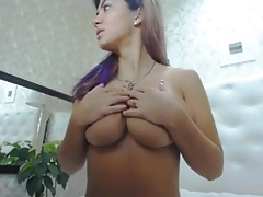 Amazing big tit girl webcam show