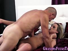 Teen eats grandads cum