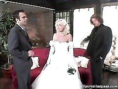 Beautiful bride sucks dick after the wedding