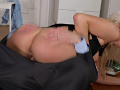 Blonde officer gets her holes owned in an interracial threesome